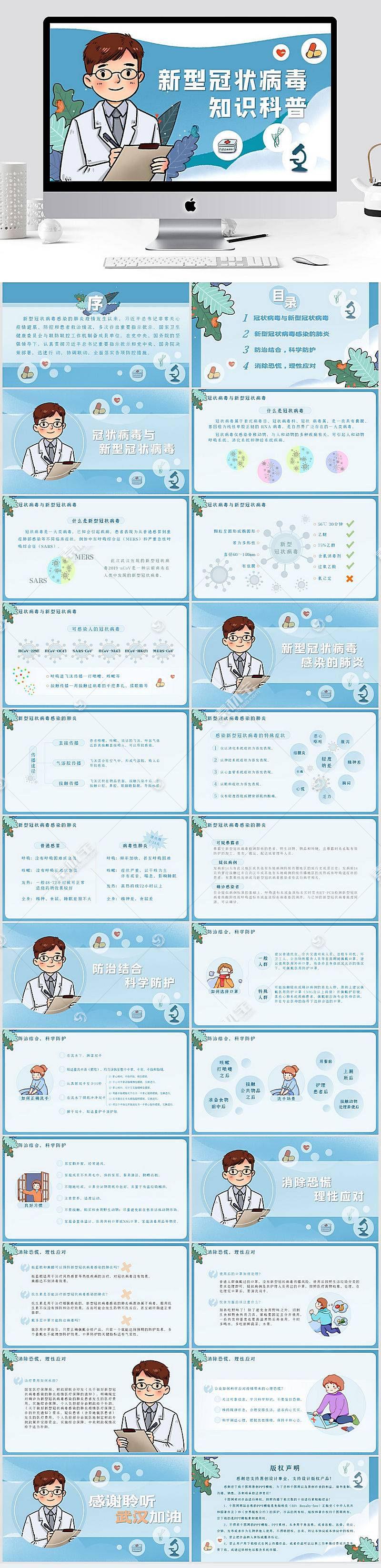 新型冠状病毒肺炎知识科普宣传PPT模板图片
