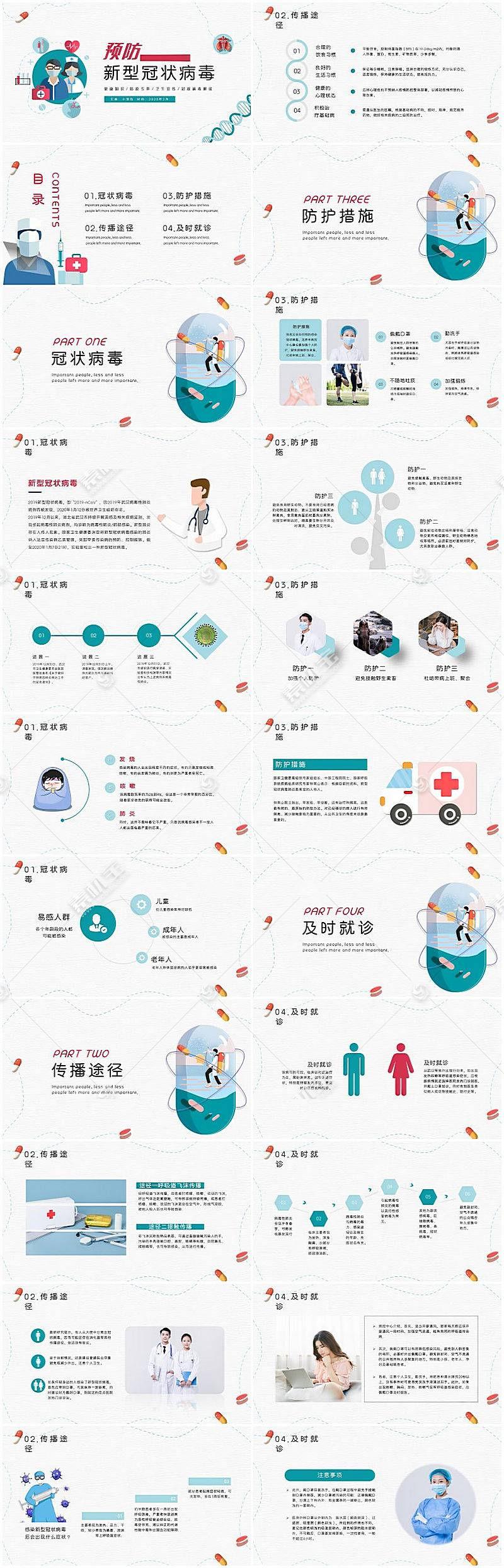 预防新型冠状病毒肺炎宣传PPT模板图片