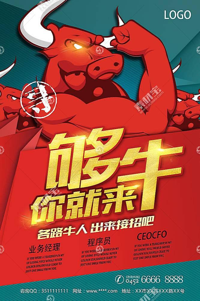卡通牛人招聘海报