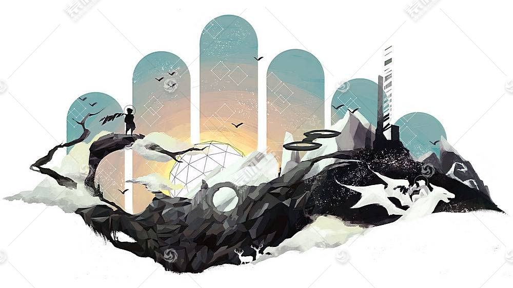 抽象,幻想艺术,简单的背景,数字艺术,超现实主义,白色背景,鹿,艺