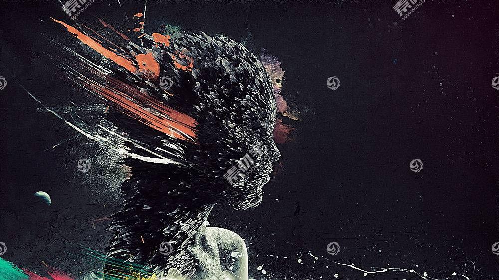 Photoshop中,艺术品,抽烟,抽象,妇女,面对,幻想艺术,数字艺术,轮