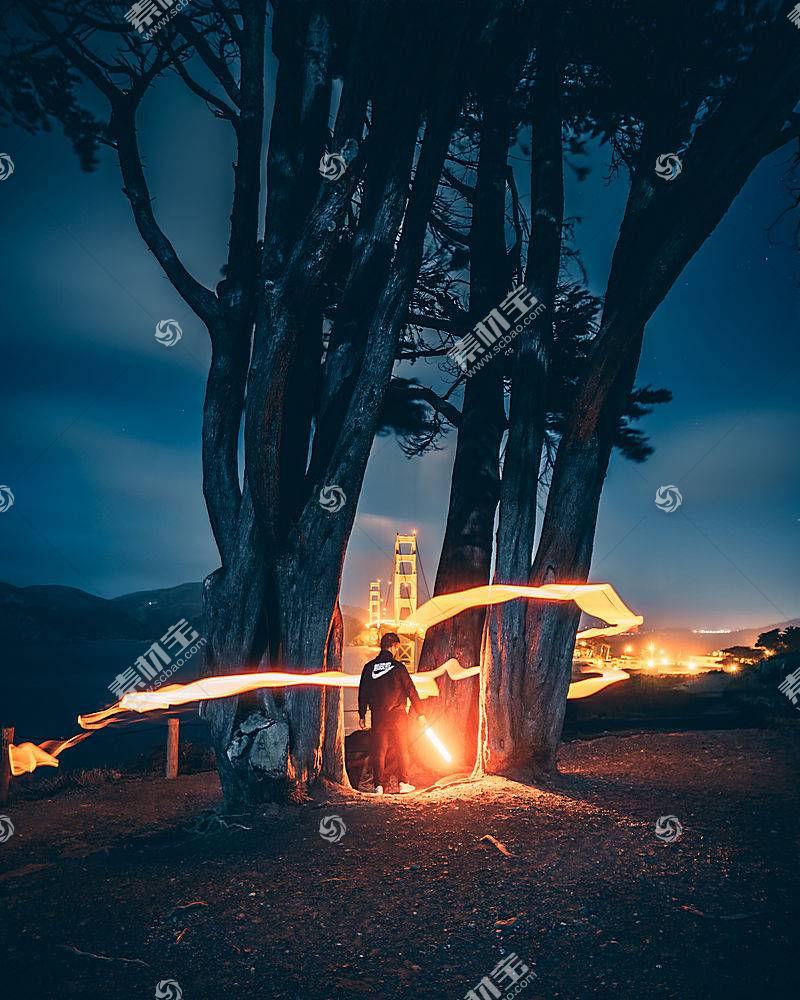 西蒙朱,旧金山,抽象,光迹,金门大桥,海湾地区,长时间曝光,晚,夜景