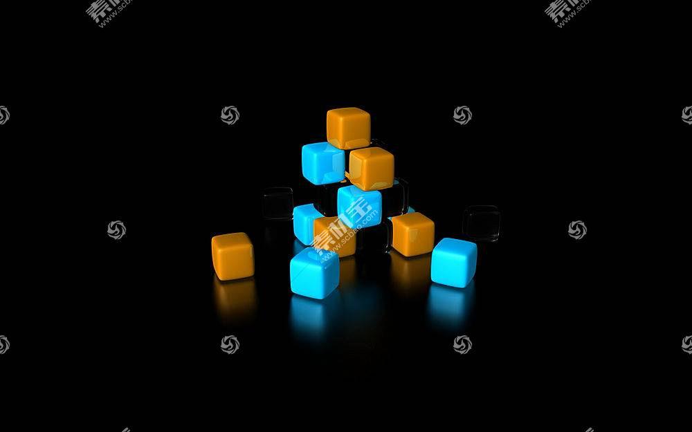黑色,抽象,黑色的背景,橙子,蓝色,立方体302图片