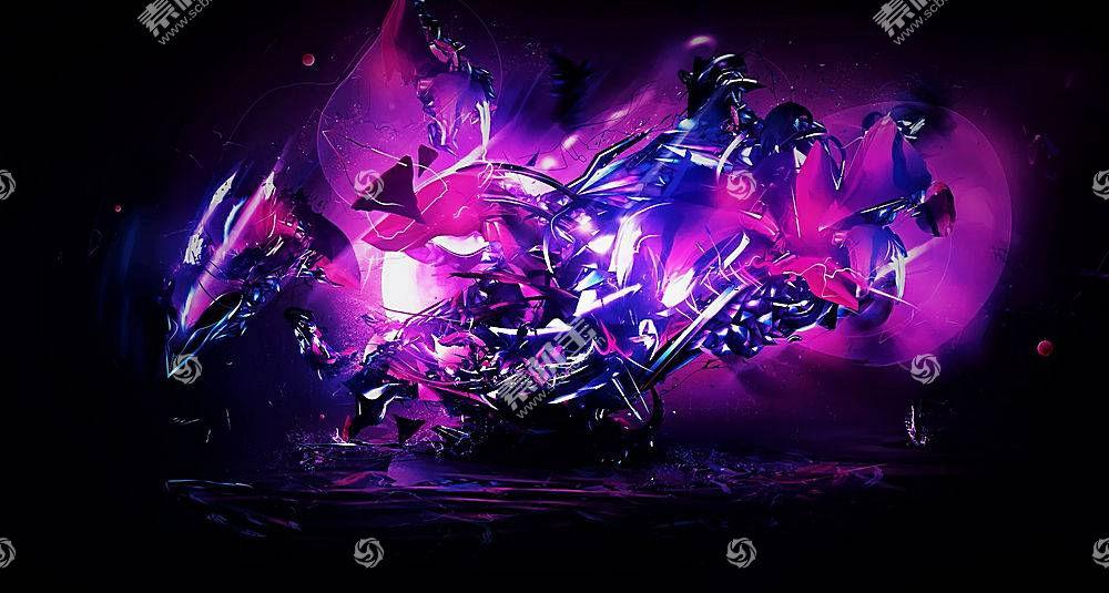 黑色,黑暗,抽象,3D,碎片,玻璃,蓝色,亮,紫色,粉438354