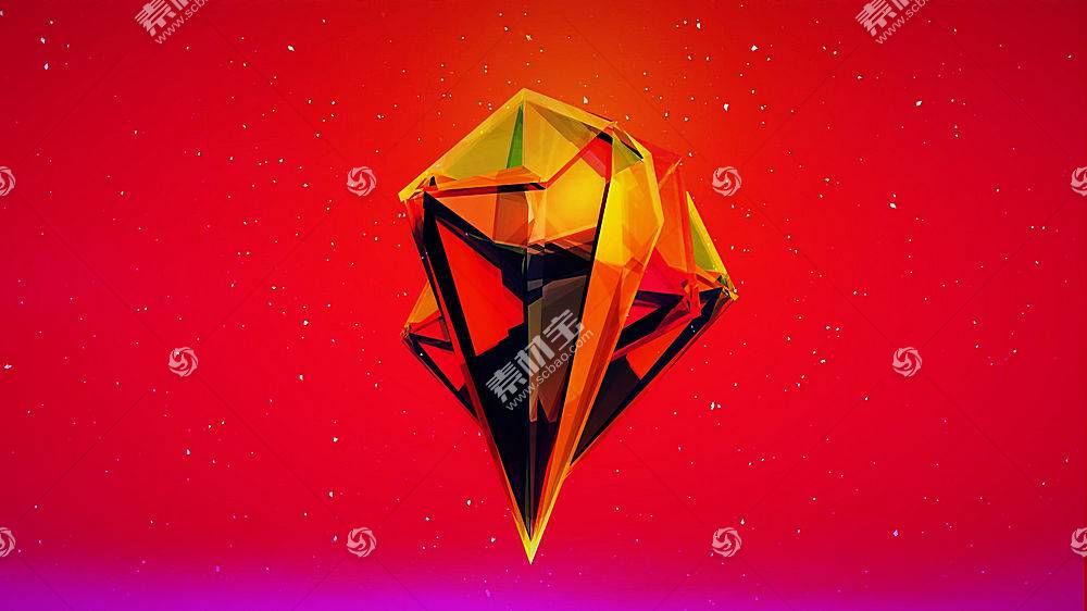 贾斯汀马勒,红,橙子,抽象,3D,粉,紫色441978