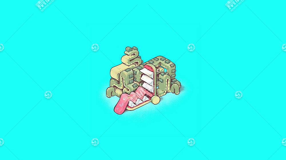 插图,蓝色背景,短吻鳄,抽象,超现实主义,简单的背景506026