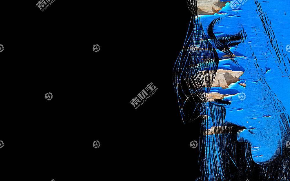 面对,轮廓,抽象,妇女,蓝色35563