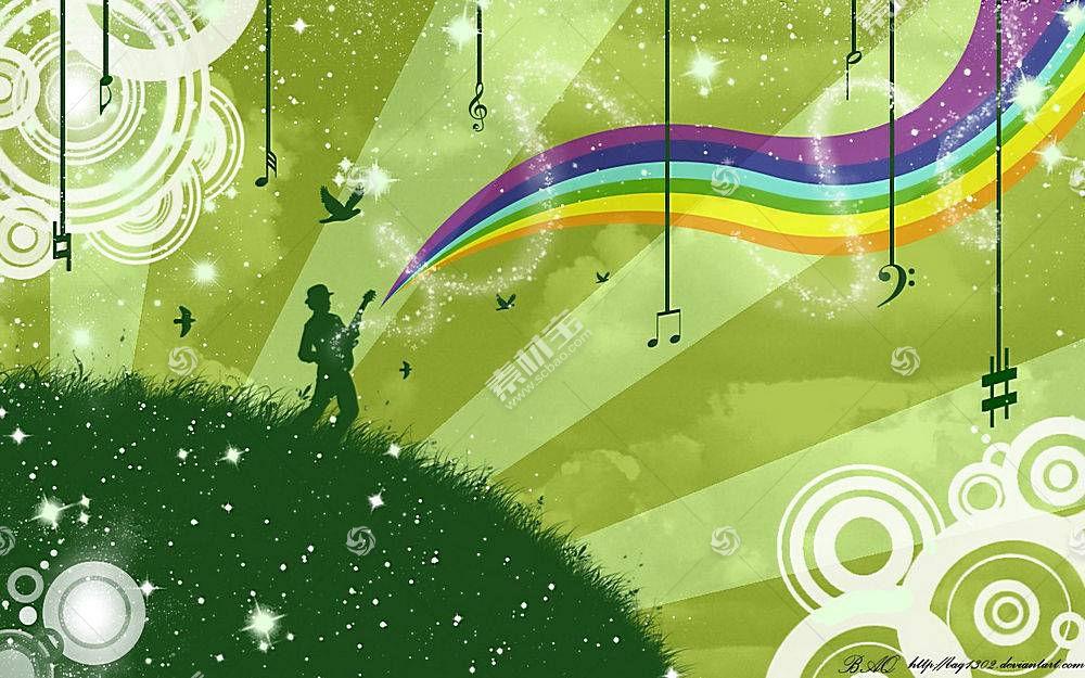 音乐,彩虹,数字艺术,抽象,华美,鸟类,天空,音符84288