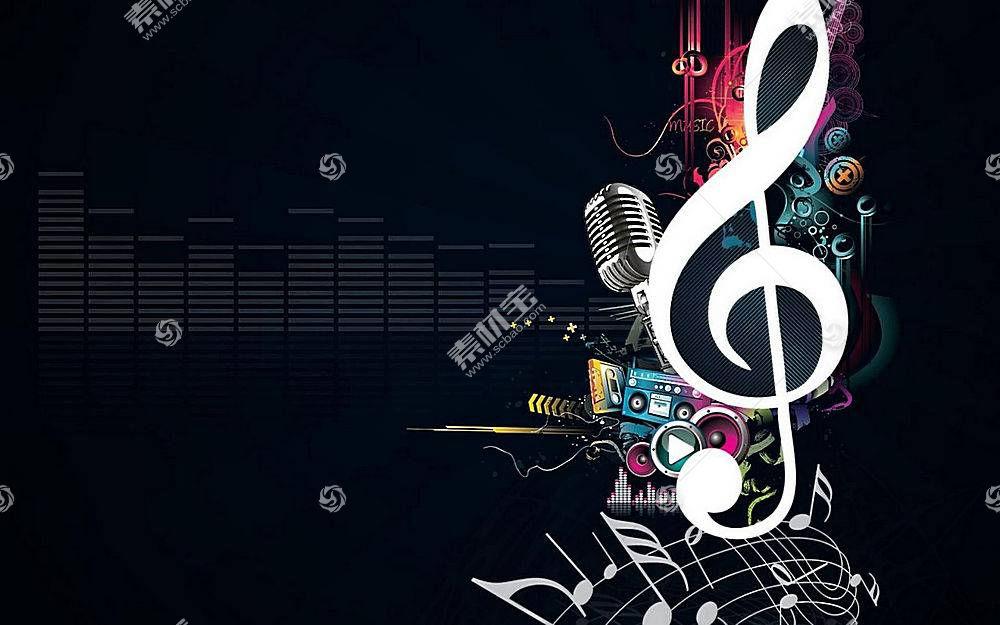 音乐,音符,抽象,数字艺术,暗盒,简单的背景14309
