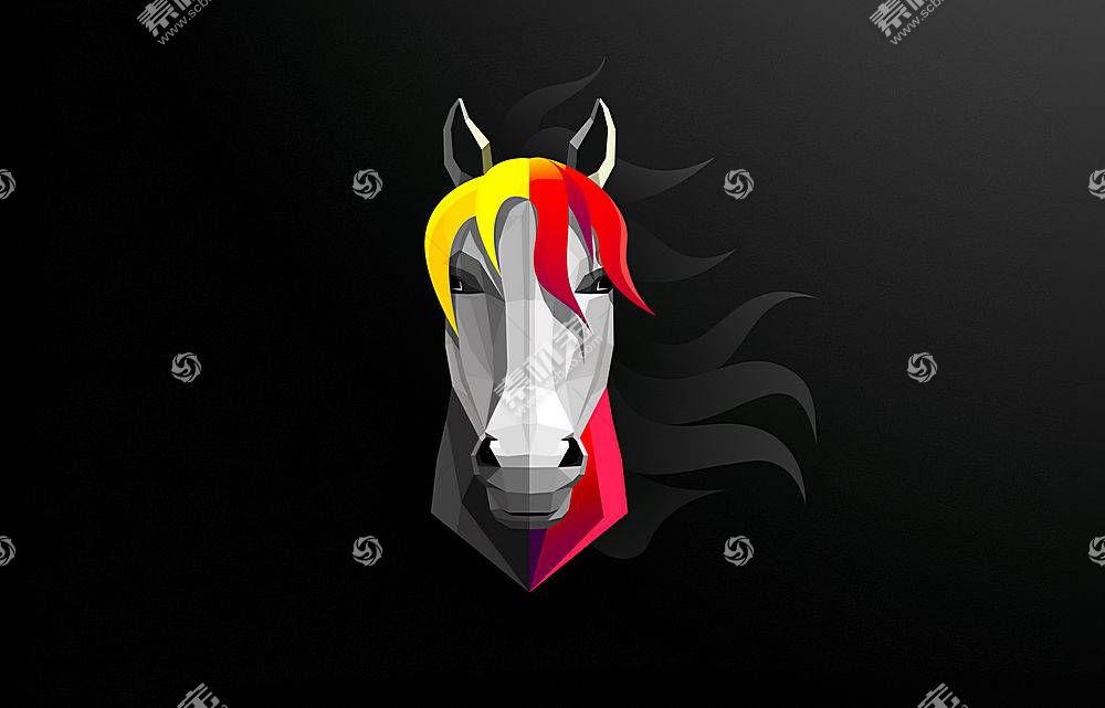 马,头,抽象,黑色,黑暗,灰色,byrotek,数字,黄色,红686533