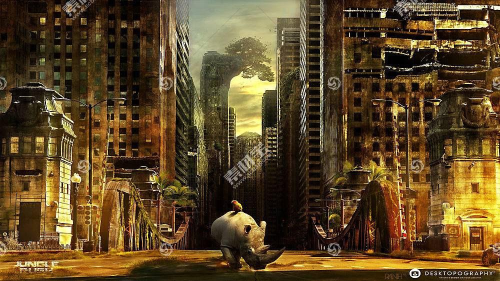 Desktopography,性质,动物,犀牛,市容,废墟,数字艺术102320