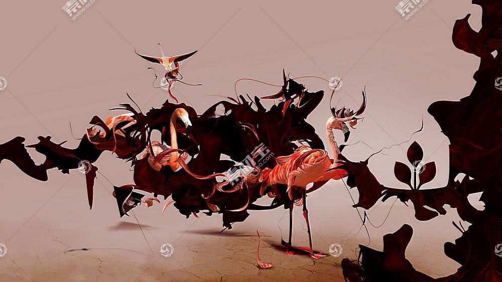 Desktopography,火烈鸟,动物,数字艺术,鸟类102286