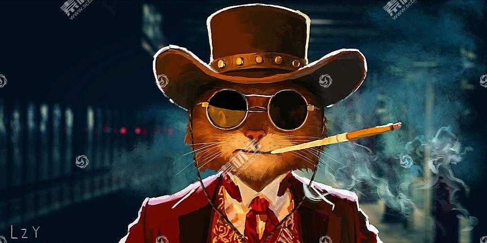 猫,数字艺术,帽子,艺术品,雪茄,抽烟,幽默,动物,李志勇681603