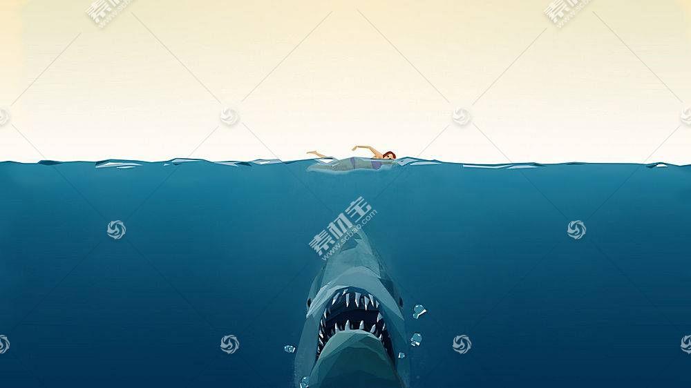 低聚,颚,游泳的,水,拆分视图,鲨鱼,电影,简单的背景,鱼,动物98715