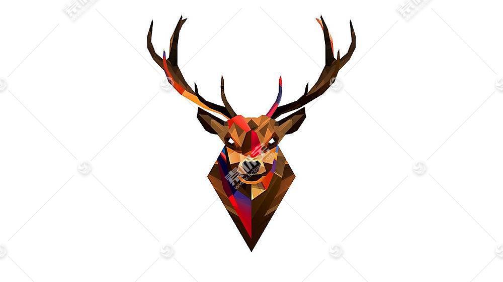 低聚,鹿,艺术品,贾斯汀马勒,简单的背景,动物,白色背景,数字艺术9