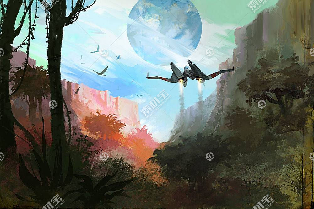 科幻小说,没有人的天空,数字艺术,飞船,野生动物442810