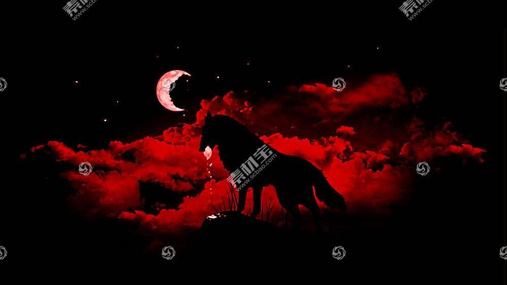 狼,幻想艺术,月亮,动物,晚397847