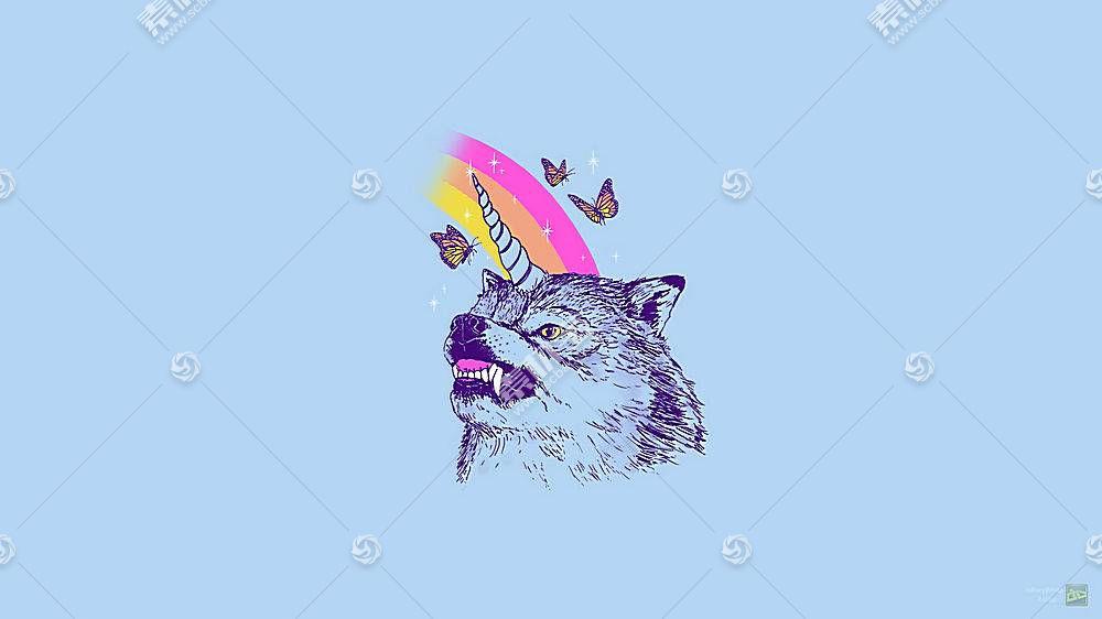 狼,独角兽,LSD,毒品,简单,蝴蝶,动物407790