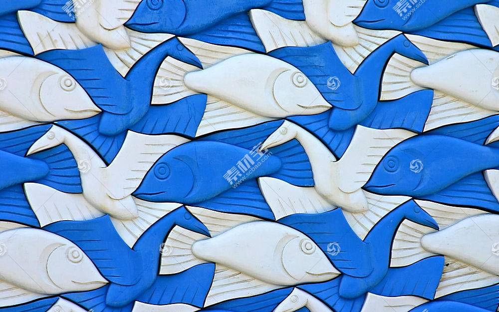 艺术品,M.C.埃舍尔,动物,3D,鸟类,鱼,塑料,白色,蓝色429592