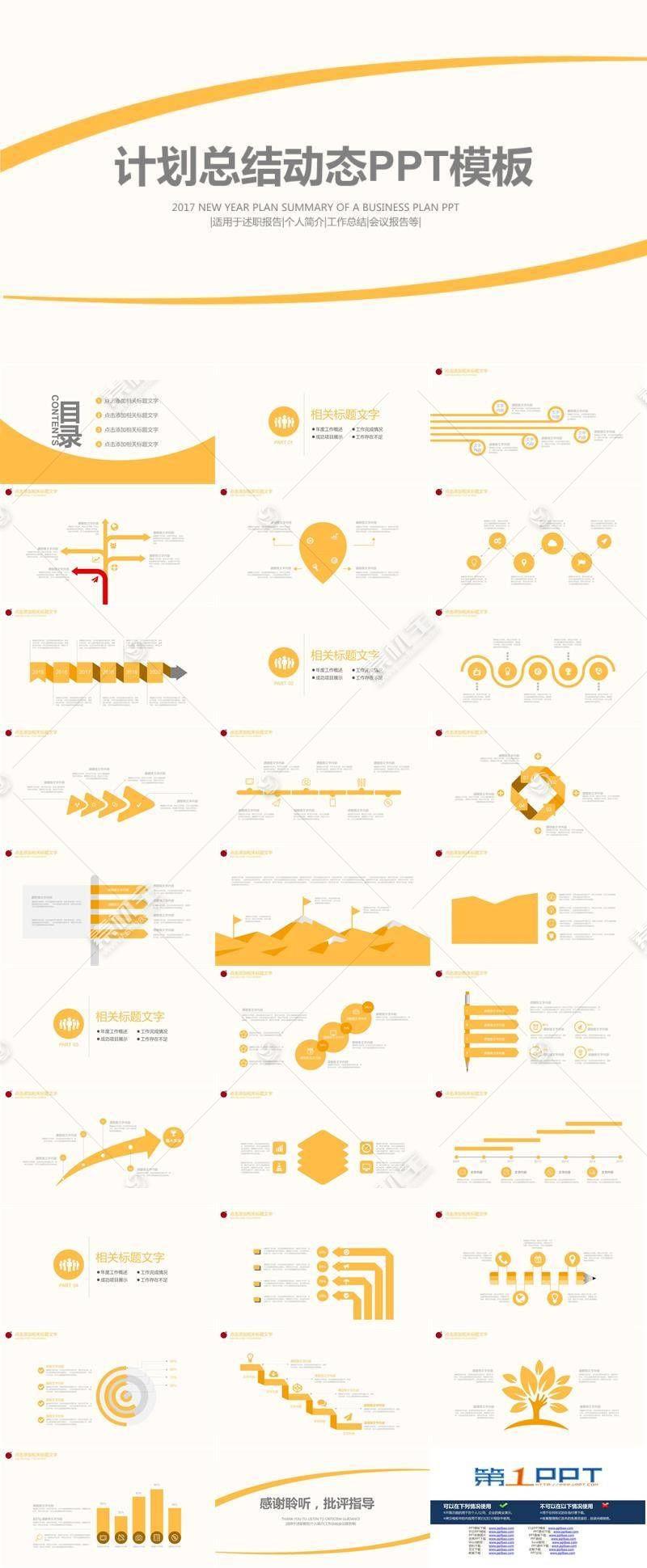 黄色动态简洁工作总结ppt模板图片