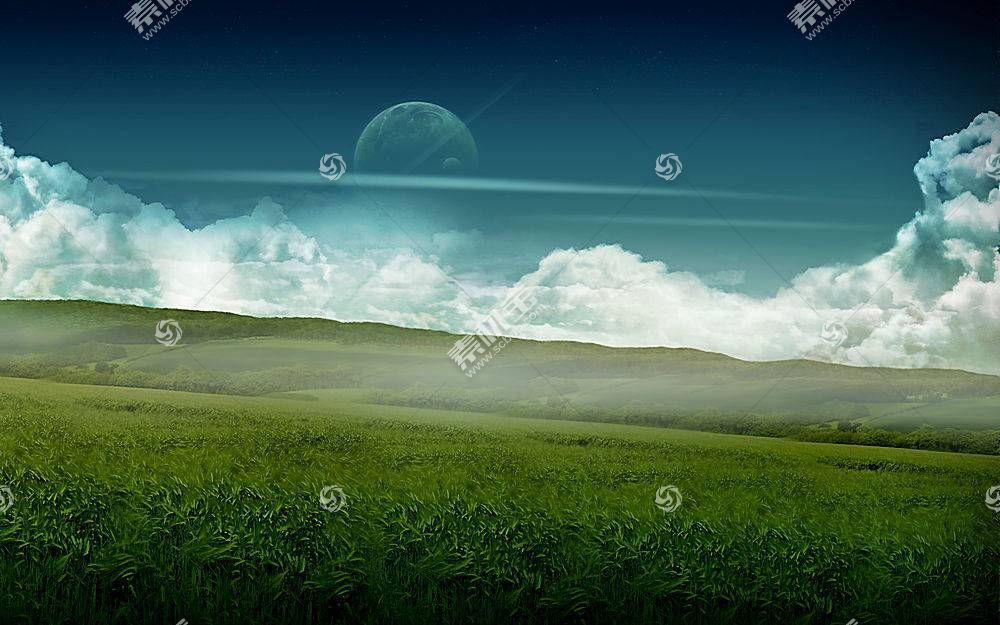 45592,地球,A,轻柔的,世界,CGI,风景,草,小山,天空,云,行星,月球,图片