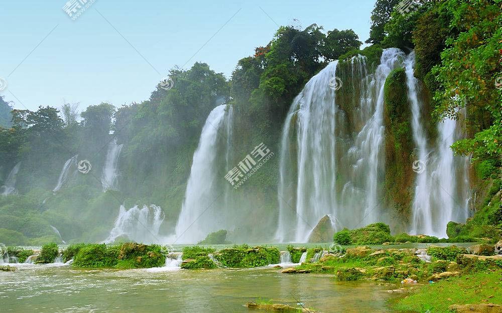 56886,地球,瀑布,瀑布,禁令,gioc�CDetian,瀑布,越南,自然,植物,图片