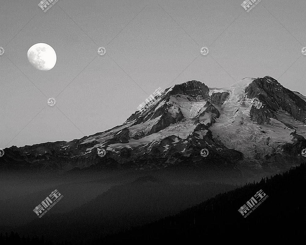 18854,地球,山,山脉,月球,雪,黑色,白色,壁纸图片