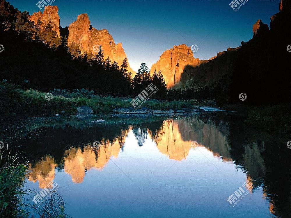 22545,地球,反射,湖,山,壁纸图片