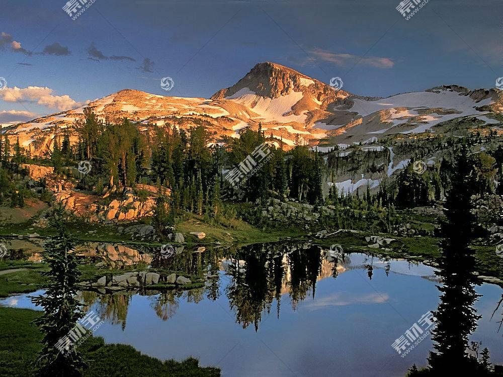 22555,地球,山,山脉,雪,森林,树,湖,反射,壁纸图片