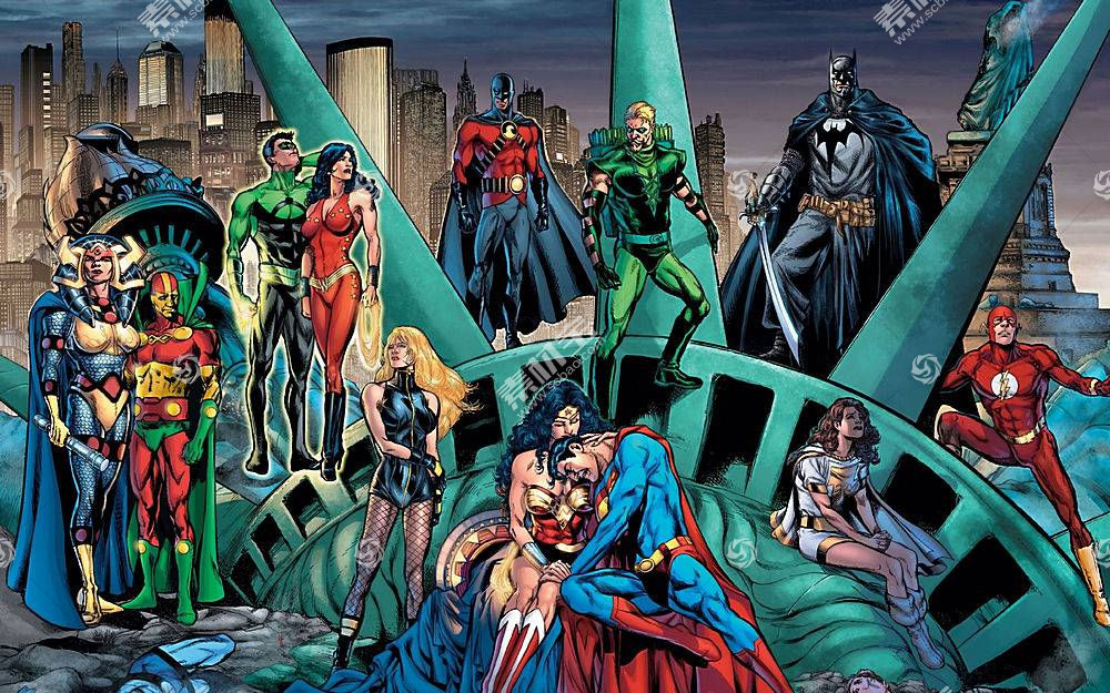 漫画壁纸,公正,联盟,勤务兵,超人,闪光,奇迹,妇女,黑色,金丝雀,绿
