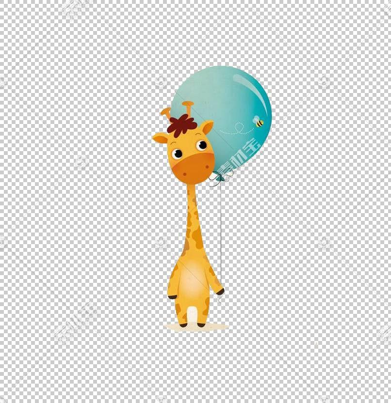 北长颈鹿卡通,鹿气球PNG剪贴画儿童,哺乳动物,动物,橙色,气球,电