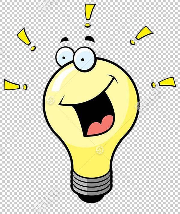 白炽灯泡电灯,黄灯泡卡通人物PNG剪贴画文本,摄影,笑脸,光效果,卡