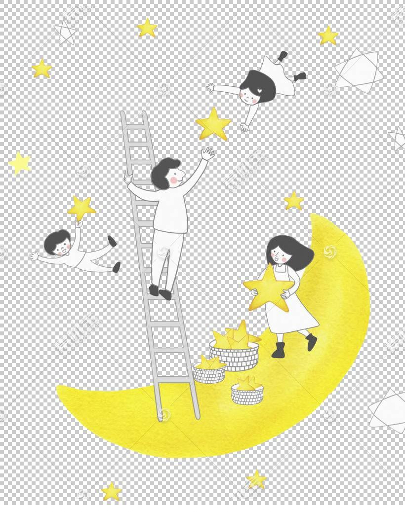 黄色的月亮PNG剪贴画明星,文本,手,黄色花,脊椎动物,卡通,材料,封