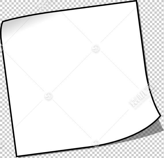 黑色和白色线条艺术便利贴,粘滞便笺PNG剪贴画角度,白色,文本,摄