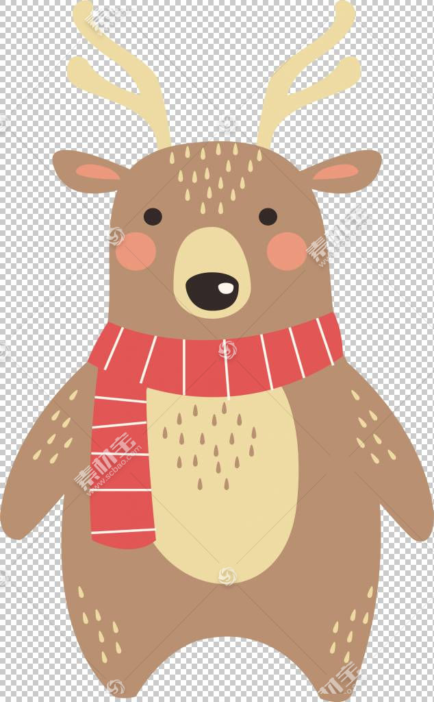 驯鹿,驯鹿围巾PNG剪贴画哺乳动物,脊椎动物,卡通,虚构人物,封装Po