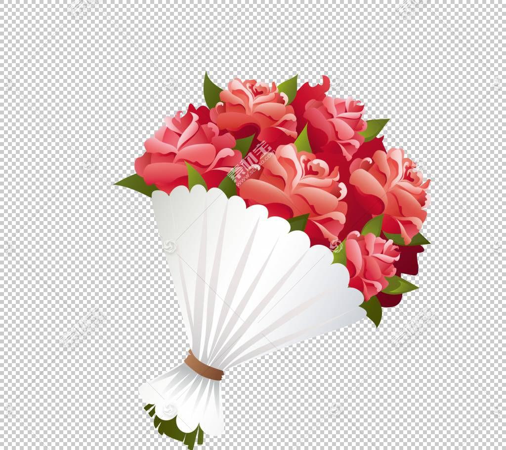 鲜花花束,卡通红色情人节玫瑰PNG剪贴画插花,婚礼,情人节,人造花,