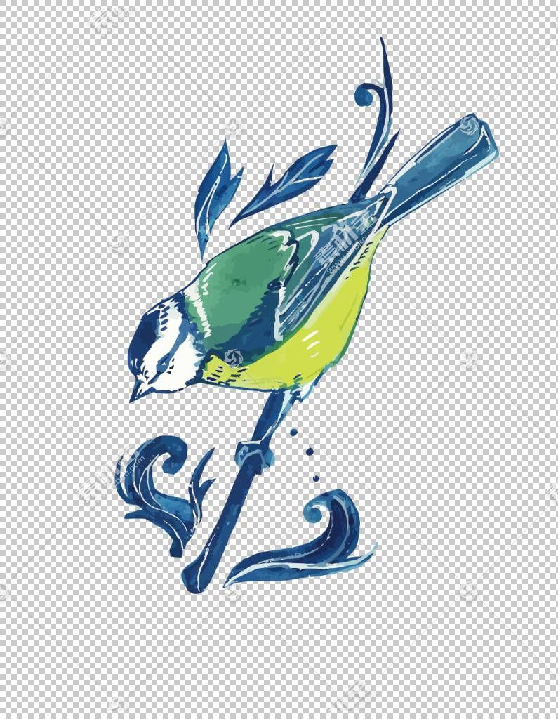 鸟Enjolras飞行,小鸟PNG剪贴画水彩绘画,蓝色,中国风格,手,分支,