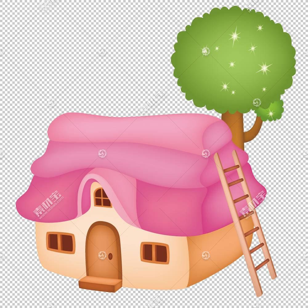 儿童卡通风筝,带梯子PNG剪贴画的小房子水彩画,漫画,建筑,摄影,技