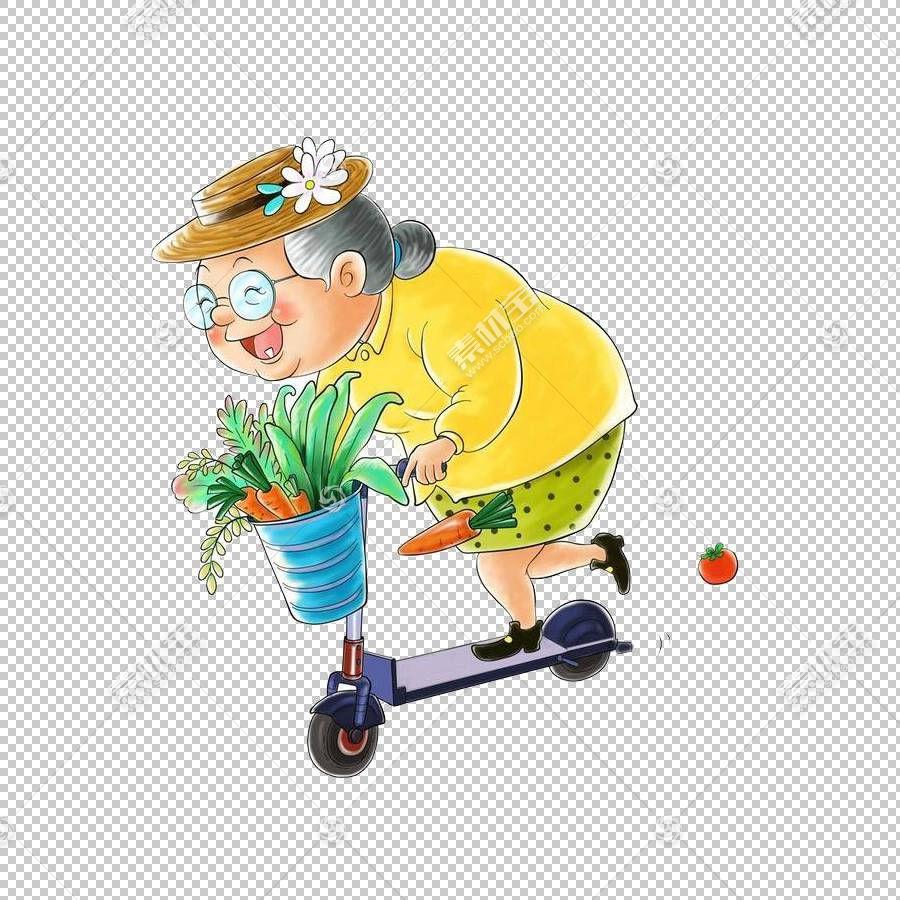 踏板车城关镇卡通,骑着滑板车买老太太PNG剪贴画的食物儿童,食品,