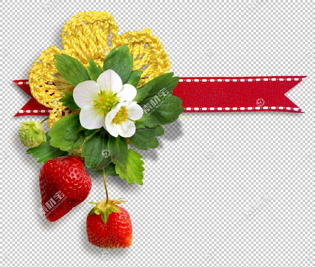 麝香草莓,草莓花PNG剪贴画天然食品,丝带,食品,叶,草莓,彩带,花卉