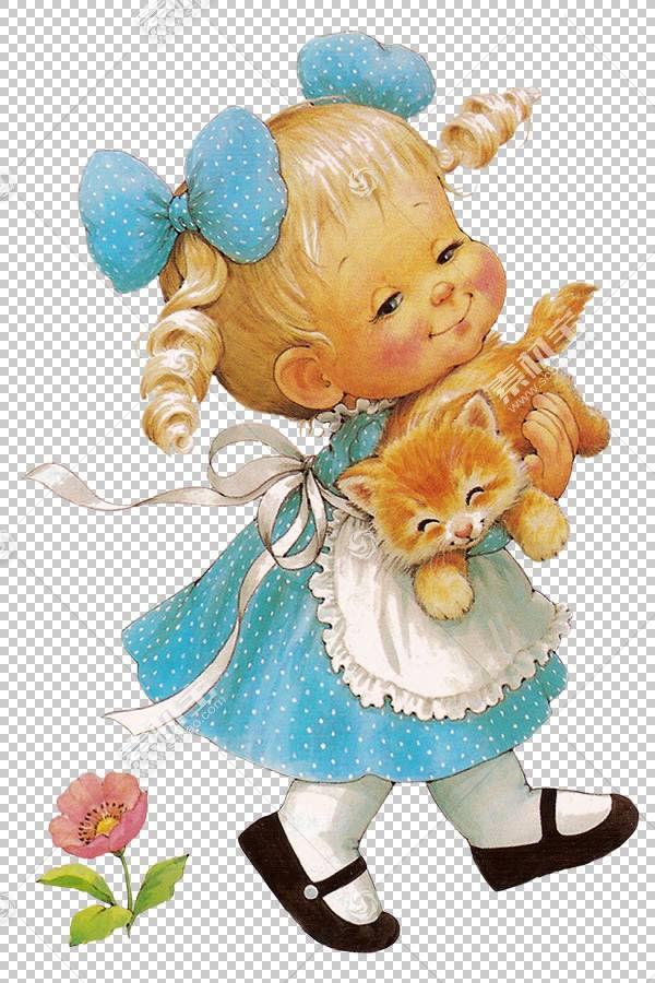 儿童女孩婴儿,有猫的逗人喜爱的女孩,拿着棕色猫PNG clipart的女