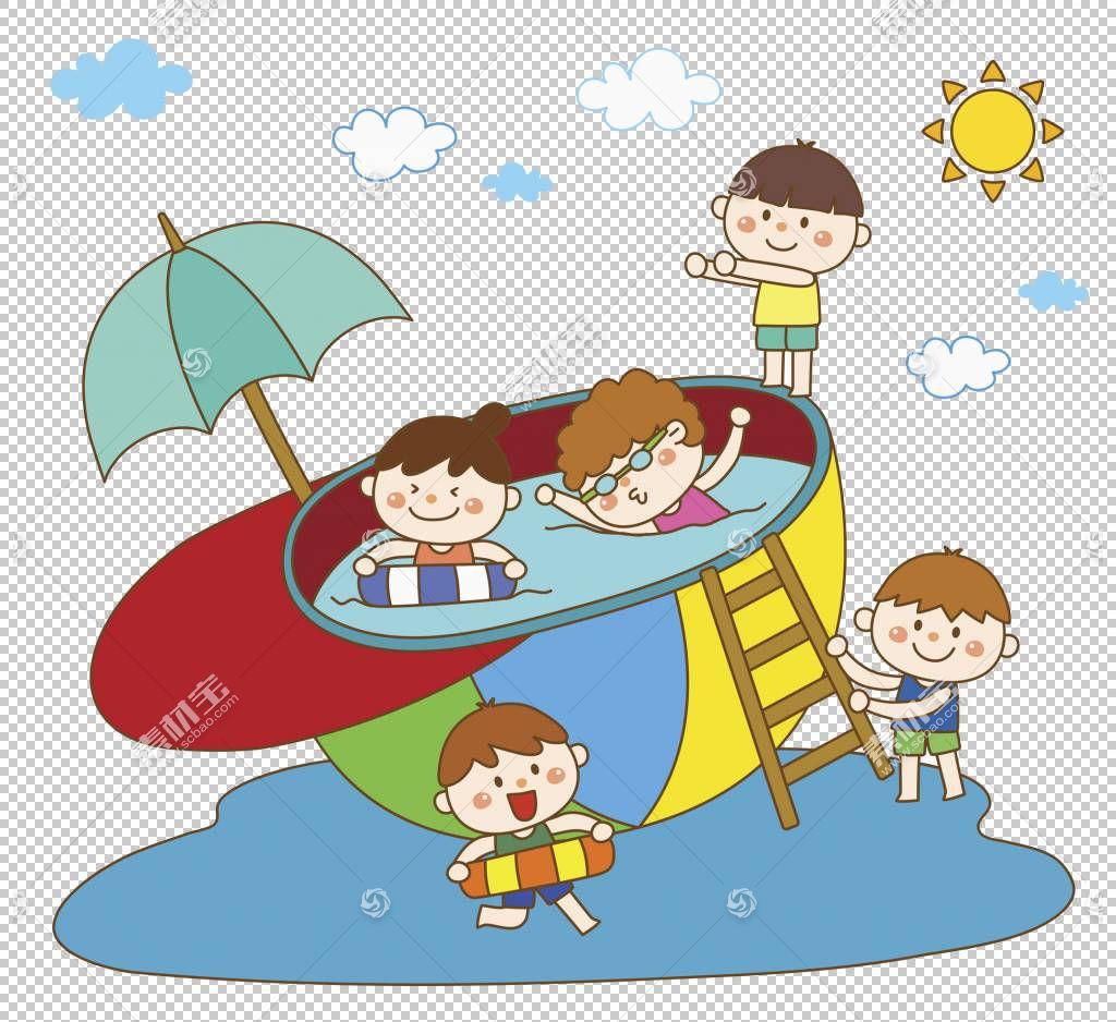 儿童游泳,帽子游泳池PNG剪贴画蓝色,伞,手,游泳池,男孩,卡通,虚构