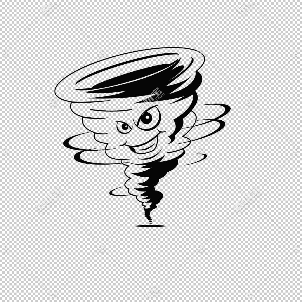 龙卷风卡通风暴,龙卷风抚摸PNG剪贴画白色,影响,云,手,单色,虚构