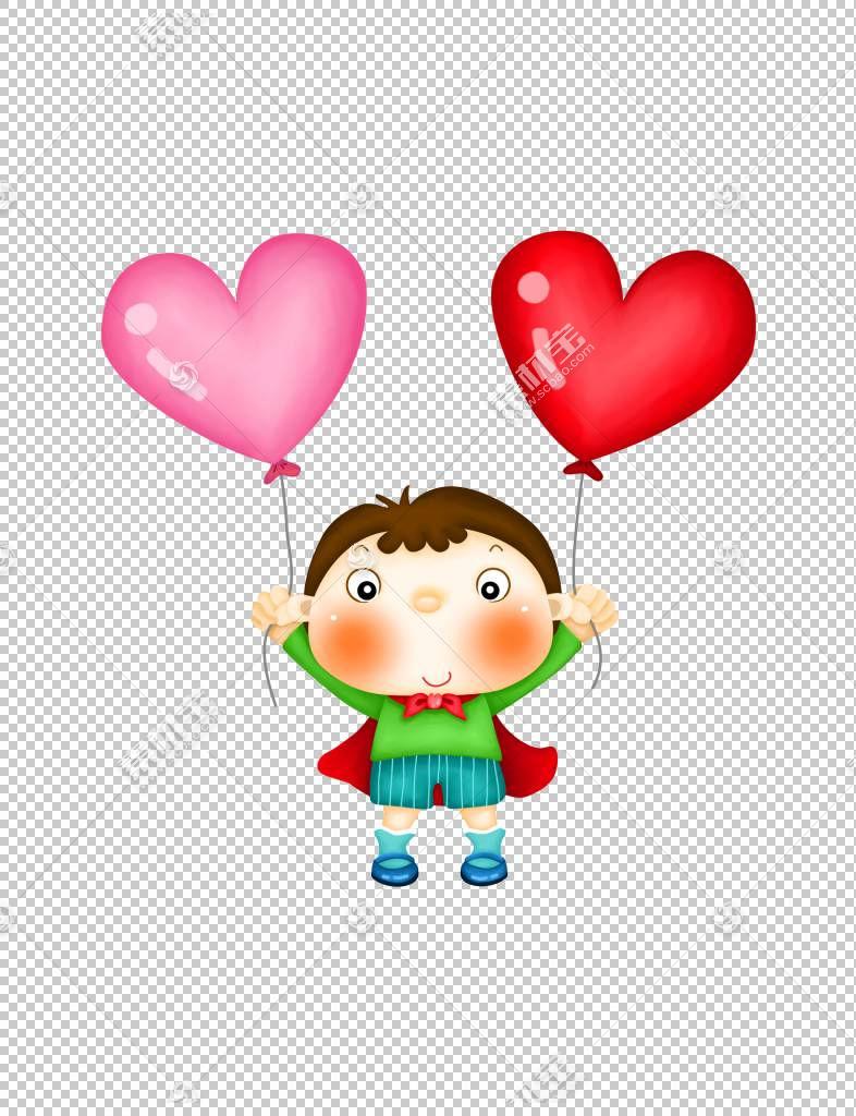 儿童节微软PowerPoint模板,美丽精致卡通可爱男孩超人气球PNG剪贴