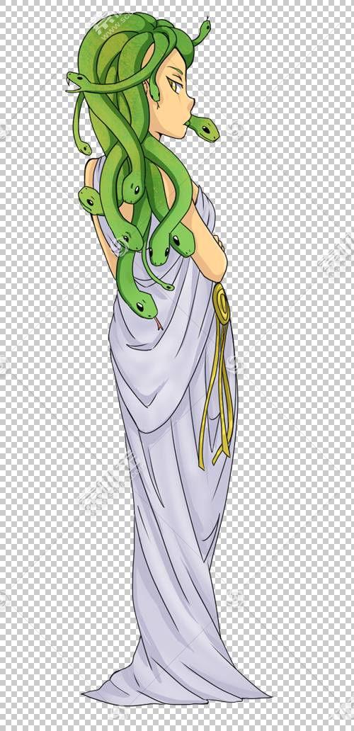 美杜莎珀尔修斯和Gorgon希腊神话,美杜莎卡通的PNG剪贴画花,虚构