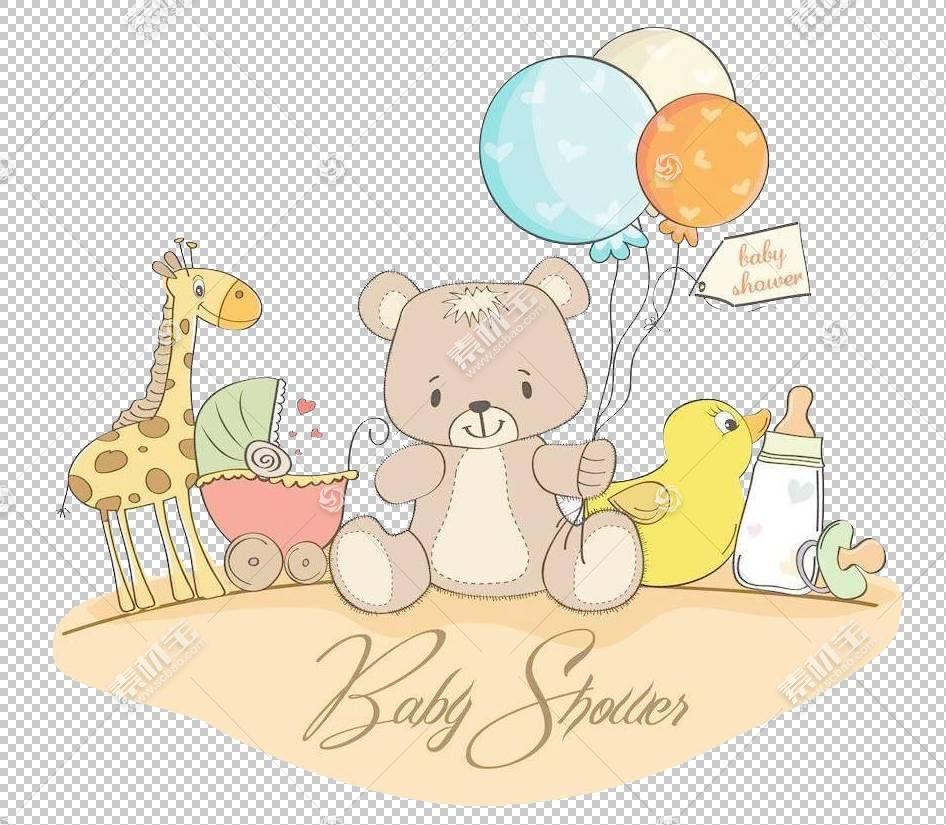儿童贺卡婴儿,素描卡通熊PNG剪贴画爱,卡通人物,食品,动物,文本,