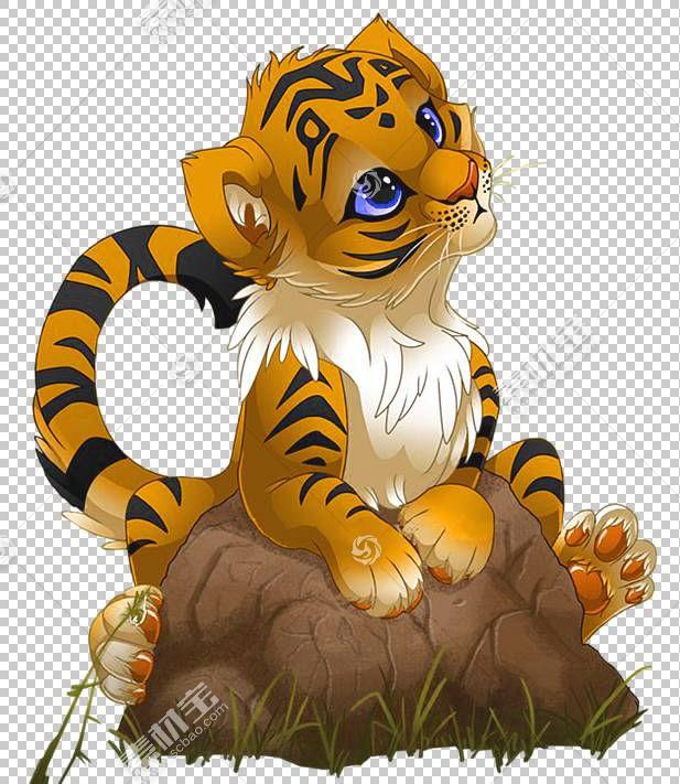老虎卡通,可爱的小老虎卡通,虎崽岩石图形贴纸PNG剪贴画漫画,哺乳