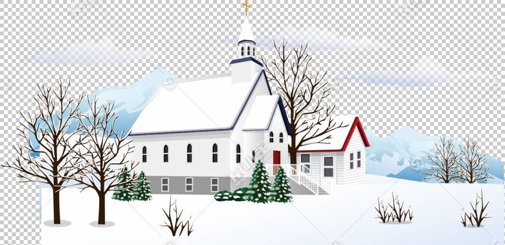 雪冬,雪村PNG剪贴画漫画,建筑,景观,圣诞节雪,卡通,雪树,海拔,属