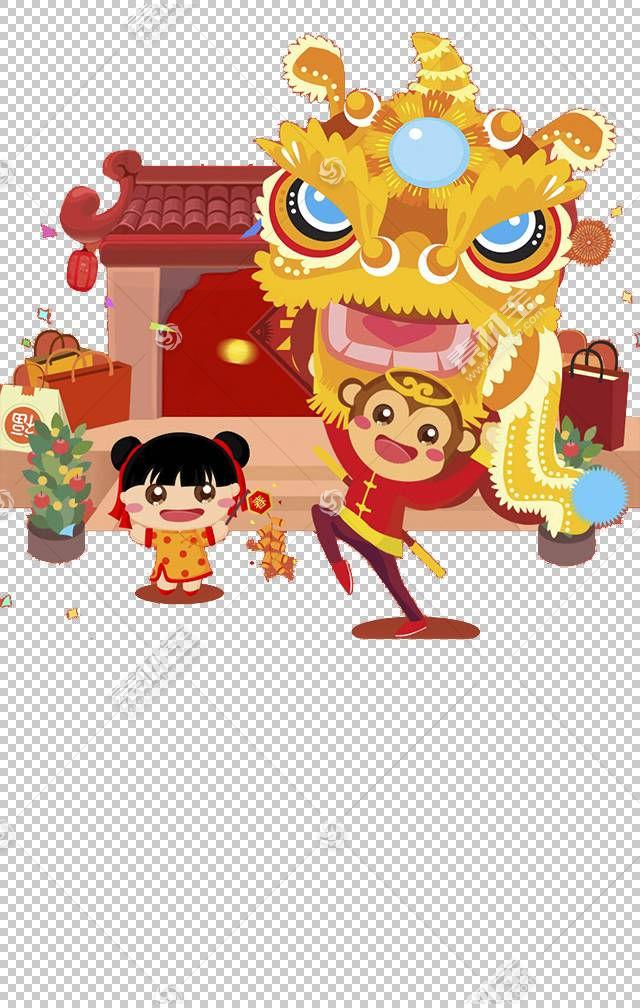舞狮欧几里德,中国新年舞狮材料PNG剪贴画食品,假期,中国风格,生