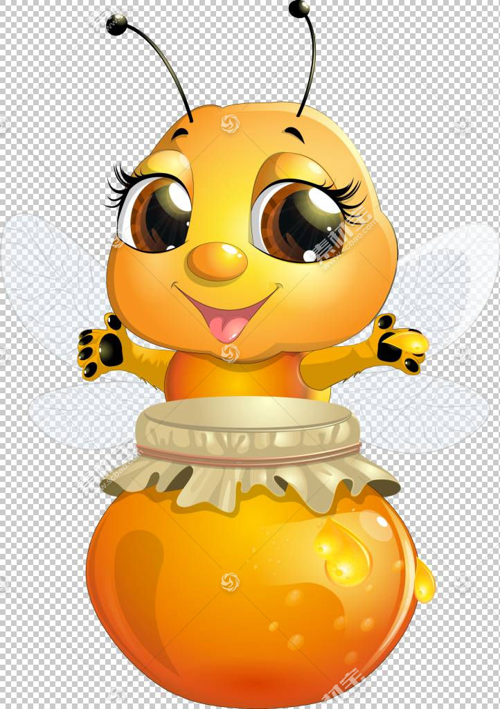 蜜蜂卡通昆虫,可爱的蜜蜂,蜜蜂和蜂蜜充满了罐子PNG剪贴画蜜蜂,食